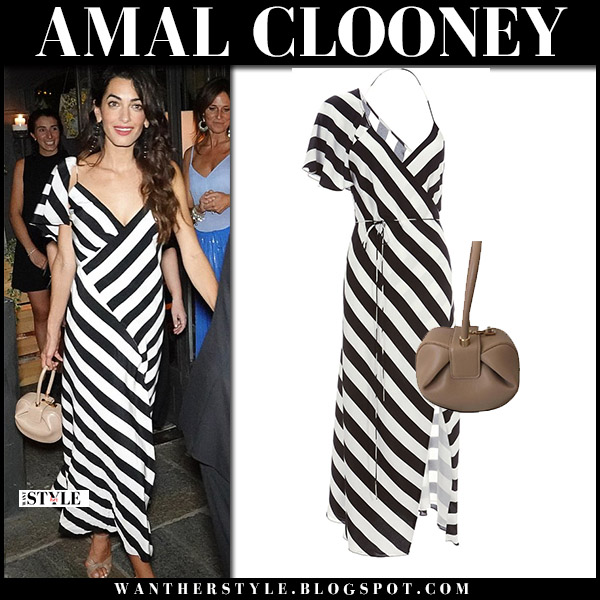 Amal Clooney in black and white striped dress michelle mason summer night out style august 3