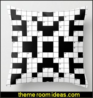 Cool Crossword Pattern Throw Pillow  book themed decor - Bibliophiles decor - Book themed furnishings - home decor for book lovers - book themed bedroom - Stacked Books decor - Stacked Books furniture - bookworm decor - book boxes - library furniture - formal study furniture - antique book decor - unique furniture - novelty furniture - Logophile decor - scrabble themed bedroom  - Crossword bedroom decor