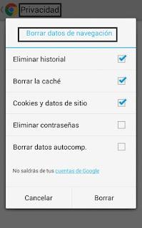 como borrar los datos de navegacion de chrome en android
