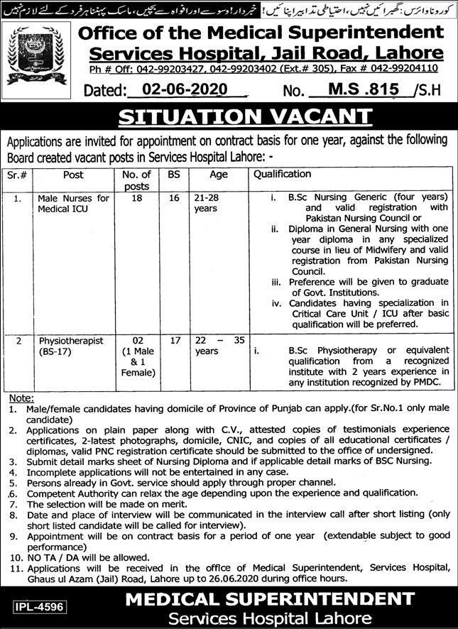 Services Hospital Lahore For ICU Nurses & Psychotherapist Jobs 2020