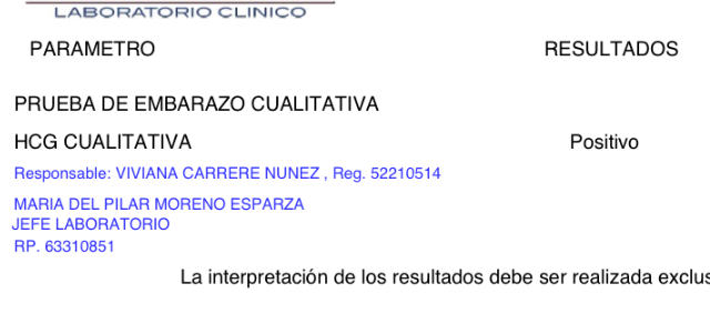 laboratorio clinico prueba de embarazo