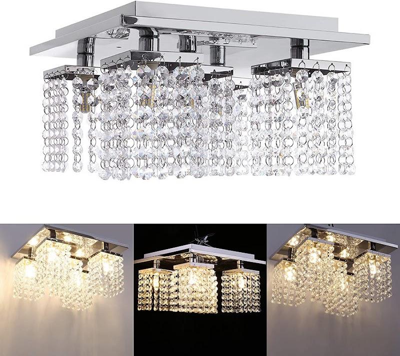 70% OFF Modern Crystal Chandelier Lighting, 5 Crystal Lights, Luxury Rectangle Raindrop Ceiling Light Chrome Flush Mount LED Pendant Lights Fixture for Livingroom Dining Room Foyer Stairway Lounge Bar Club