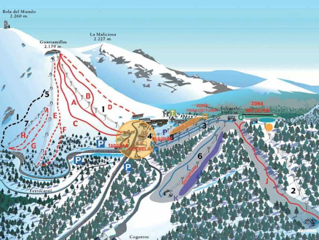 plano de pistas de esquí Puerto de Navacerrada