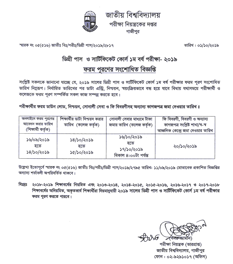 Degree 1st year exam form fill up notice 2019