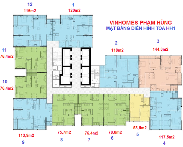 Mặt bằng Vinhomes Phạm Hùng tầng điển hình tòa HH1