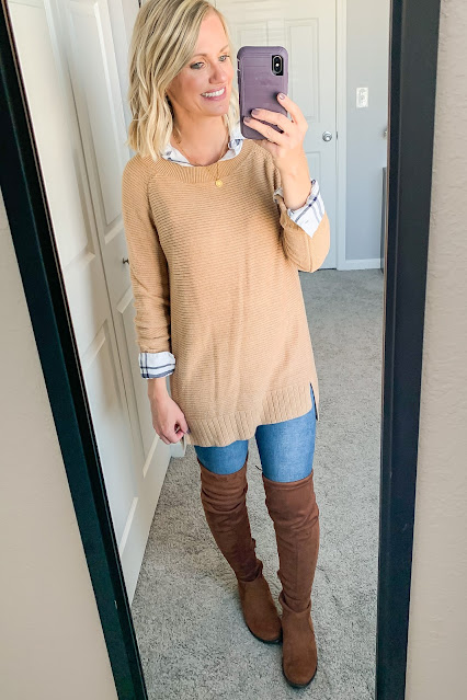 Button-down layered under sweater