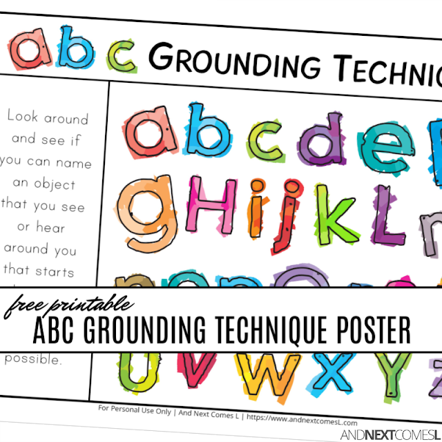 ABC grounding techniques for kids with free printable