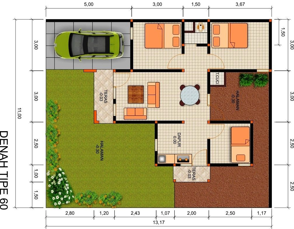 Gambar Denah Rumah Type 60 Minimalis Sederhana
