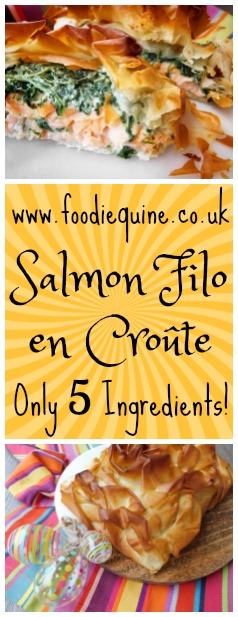 www.foodiequine.co.uk A show stopping dish for Good Friday this lighter version of Salmon en croûte is super quick and easy to make with only 5 ingredients. Ensure your Filo Pastry Wrapped Salmon is cooked to perfection this Easter with a Superfast Thermapen thermometer.