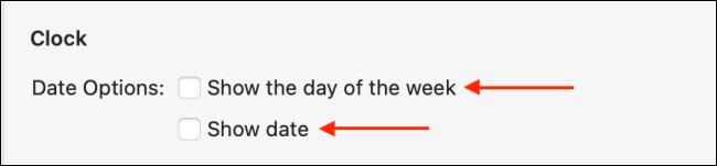 """حدد """"إظهار يوم من الأسبوع"""" و """"إظهار التاريخ""""."""