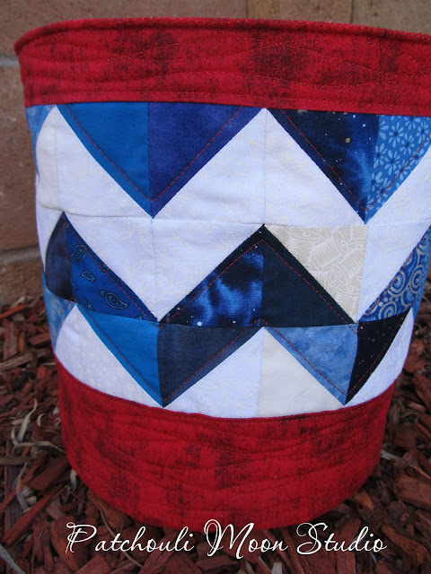 Closeup view of the patchwork triangles on fabric bucket