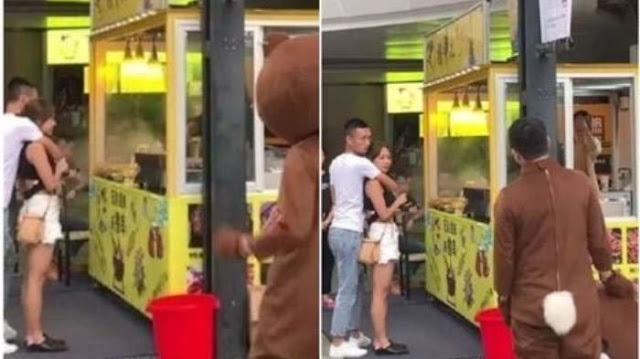 VIRAL Cowok Berkostum Beruang Pergoki Pacar Selingkuh, Selama ini LDR, Beri Kejutan Berujung Kasihan