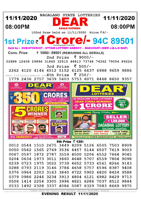 8pm Lottery Sambad, 11.11.2020, Sambad Lottery, Lottery Sambad Result 8 00 pm, Lottery Sambad Today Result 8 pm, Nagaland State Lottery Result 8 00 pm