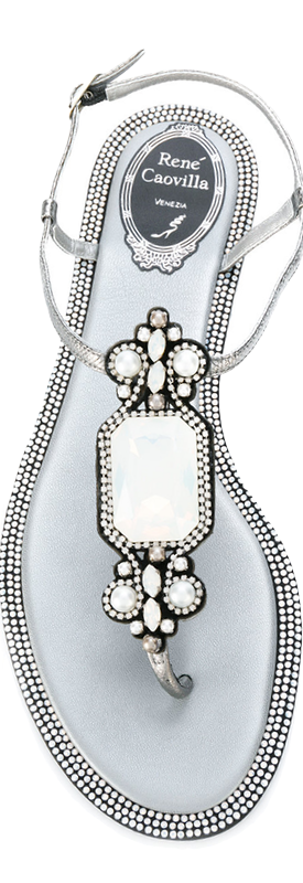 Rene Caovilla Embellished Silver/White Sandals
