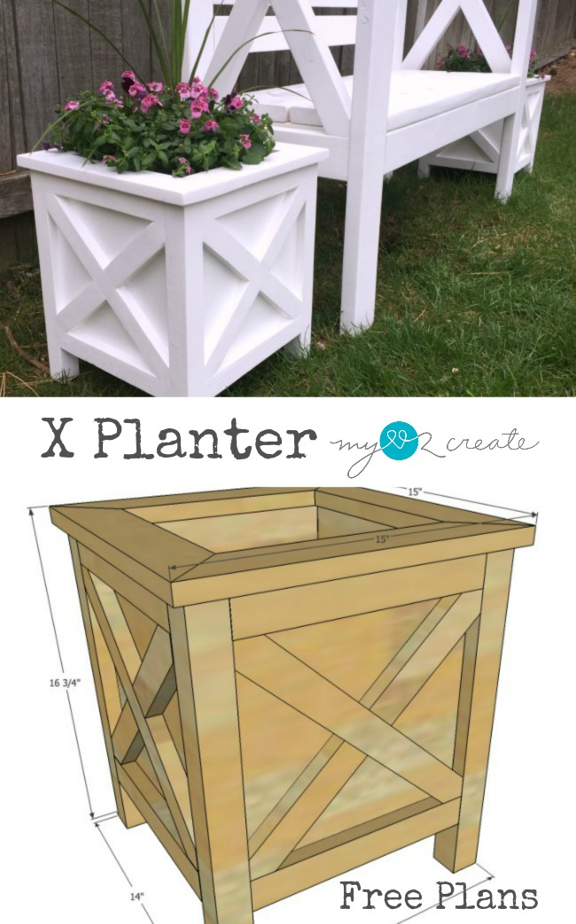 Build a beautiful x planter with free plans and a picture tutorial at My Love 2 Create