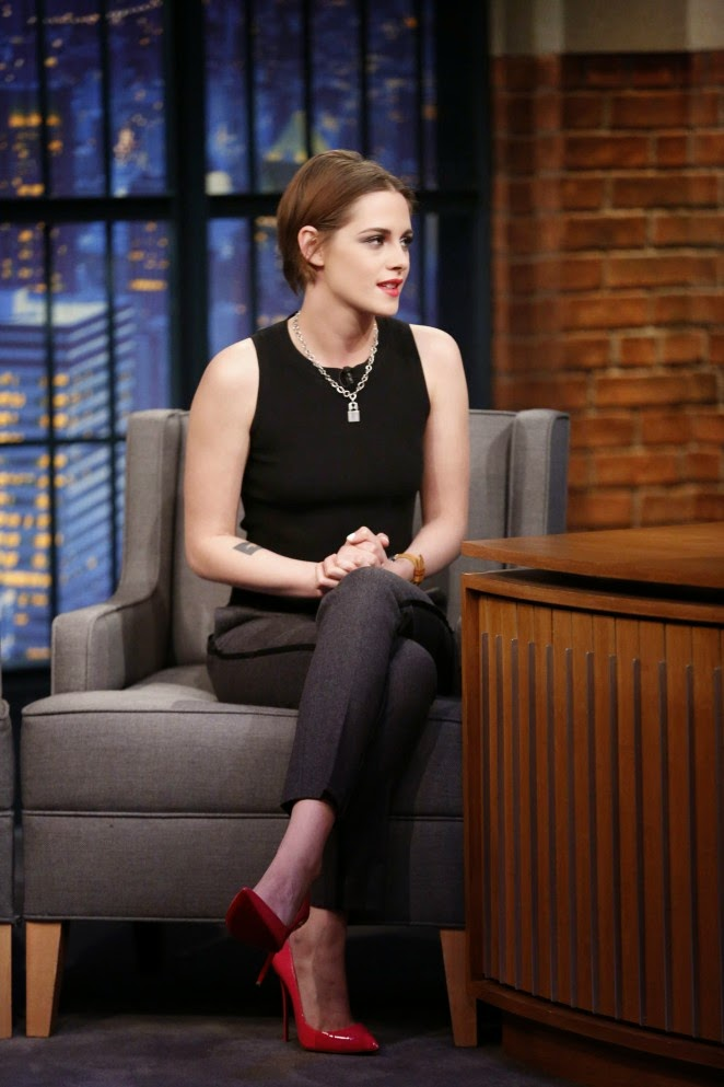 Kristen Stewart in a sleeveless black top on 'Late Night with Seth Meyers' in NYC