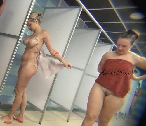Hidden cam in the shower room for ladies (Hidden Camera Public Shower 35-44)