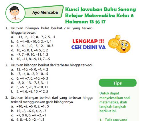 Lengkap Kunci Jawaban Halaman 17 18 Buku Senang Belajar Matematika Kelas 6 Kunci Jawaban Lengkap Dan Terbaru Simplenews