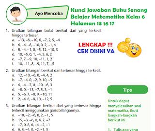 Kunci Jawaban Buku Senang Belajar Matematika Kelas 6 Halaman 13, Halaman 16, Halaman 17, www.simplenews.me