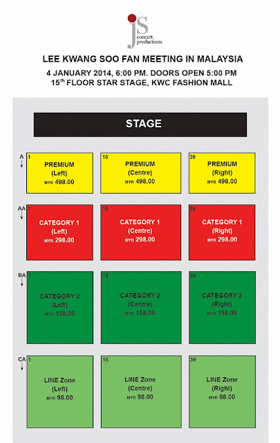 Lee Kwang Soo Fan Meeting in Malaysia @ KWC Fashion Mall Seating Plan RM498 | RM298 | RM158