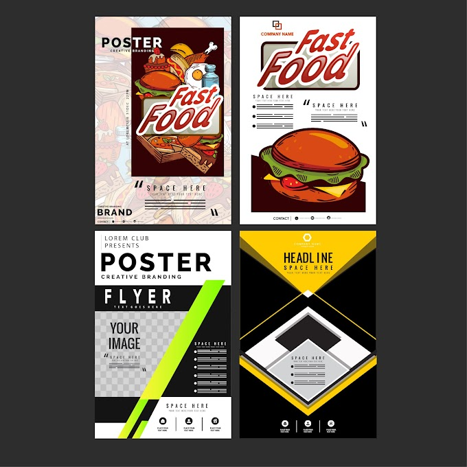 Flyer templates fast food abstract themes Free vector