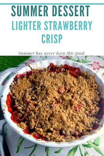 Let's make a Strawberry Crisp that bursting with juicy strawberries topped with a light crunchy topping.  It all but screams summer! - Slice of Southern