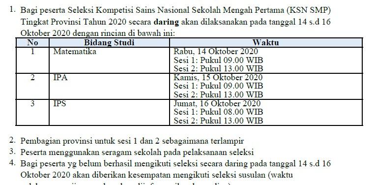 Jadwal KSN SMP Tingkat Provinsi Tahun 2020