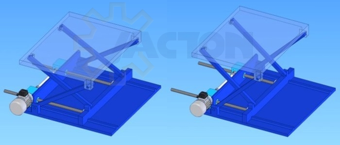 Electric motor driven two worm gear screw jacks lifting system for