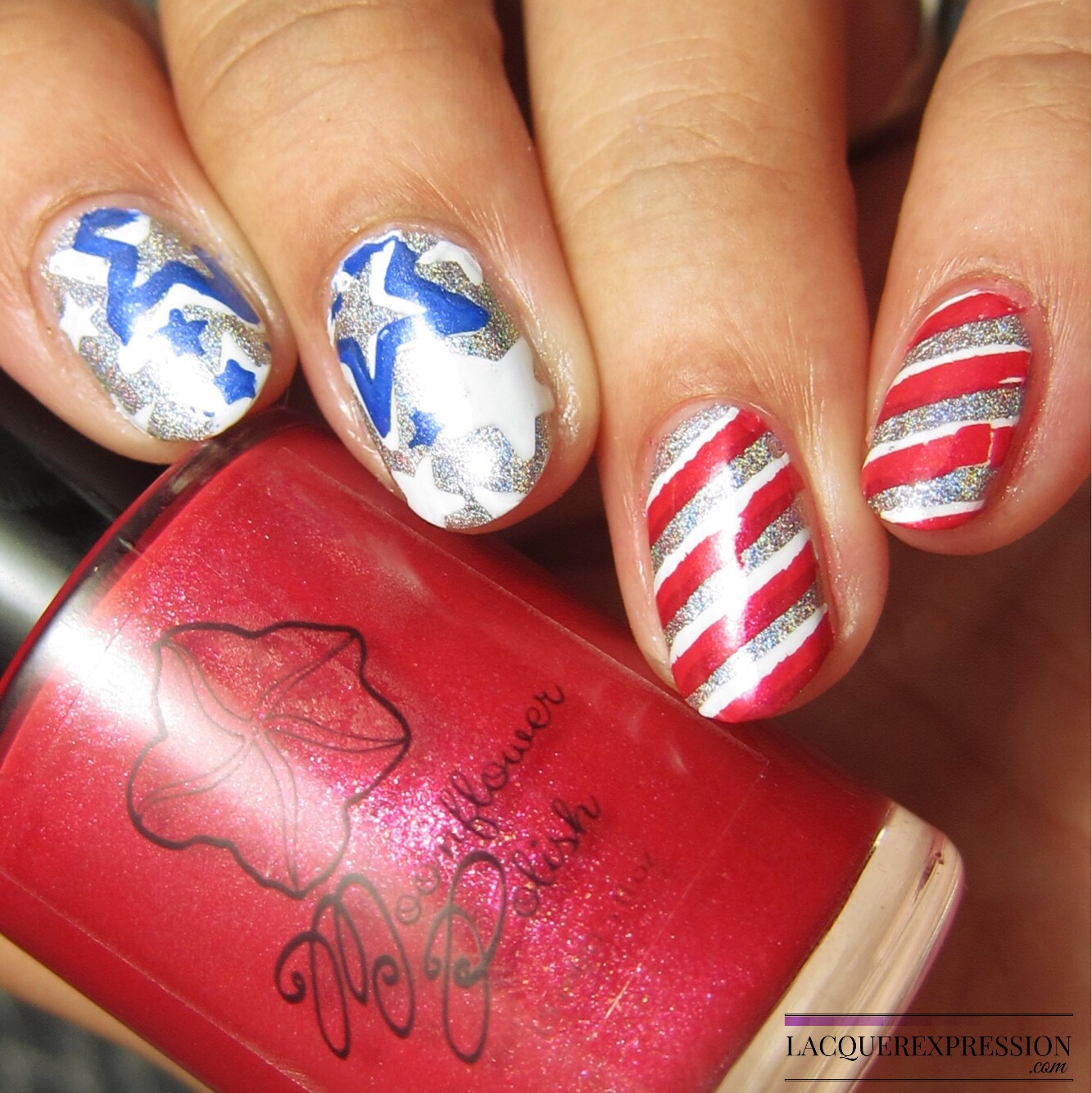 4 simple nail art looks for july 4th 2017 lacquerexpression stars and stripes nail stamped manicure prinsesfo Image collections