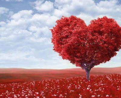 صورة شجرة على شكل قلب لونه احمر ممتازة