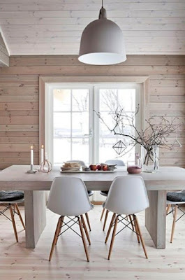 Wooden Scandinavian dining room design with astounding wall paneling floor ceiling and wall