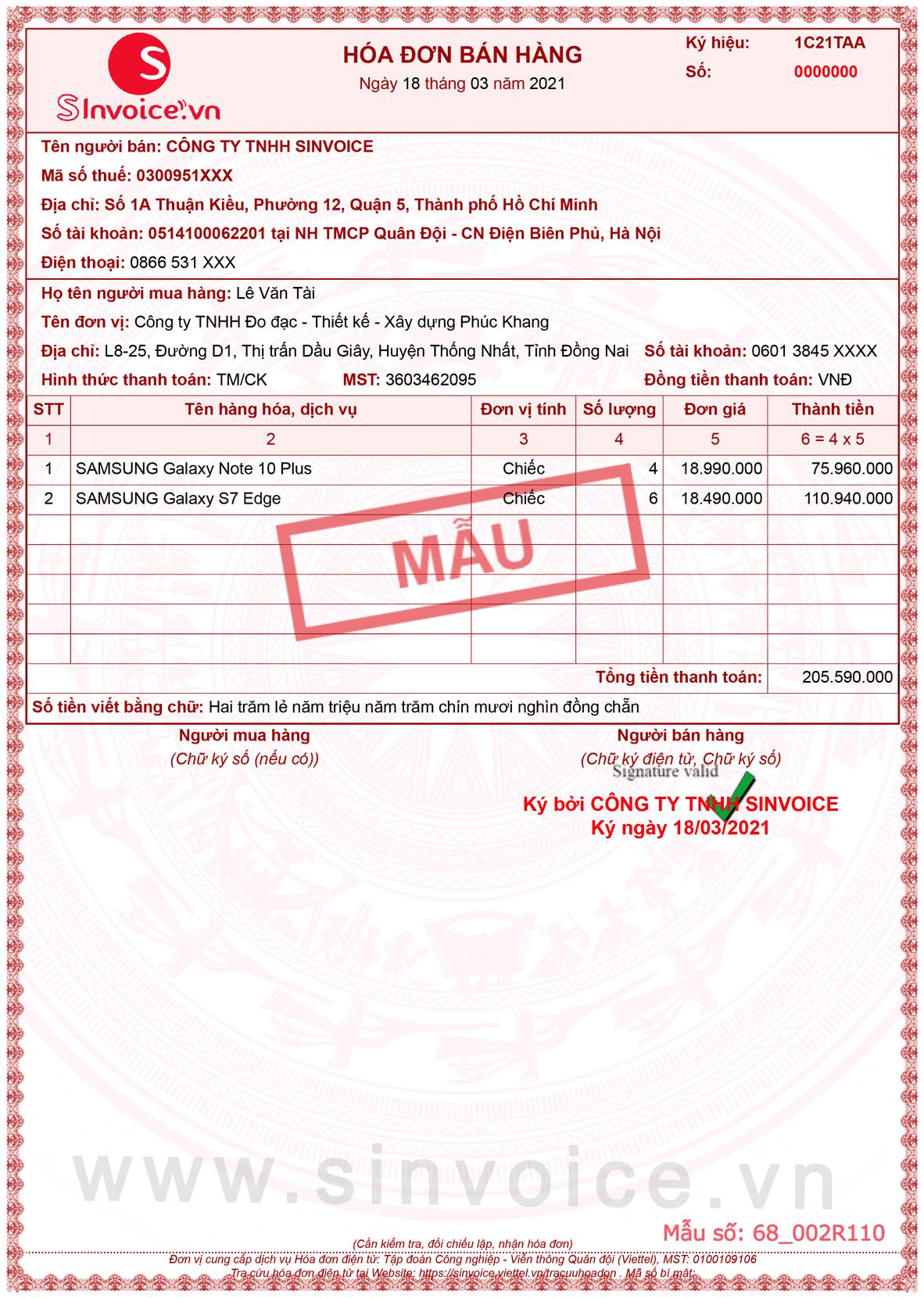 Hình 3 - Mẫu hóa đơn điện tử bán hàng