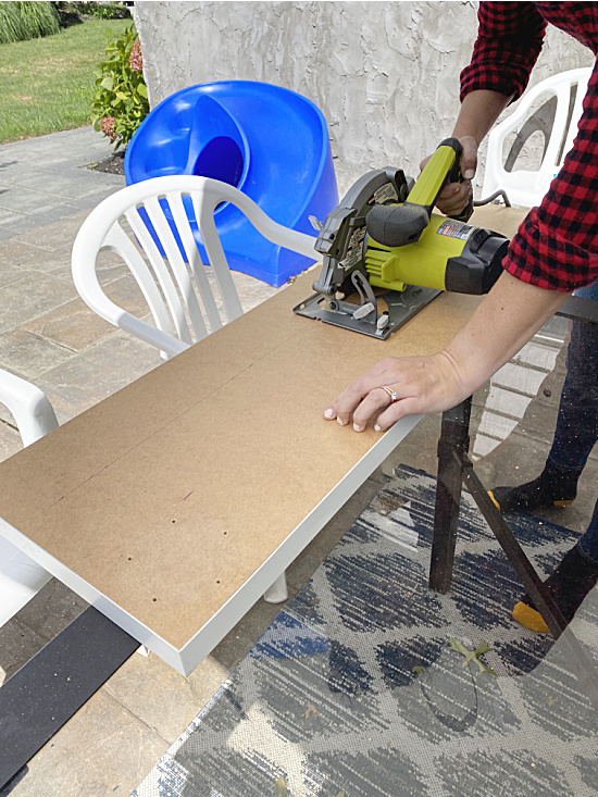 cutting ikea table with circular saw