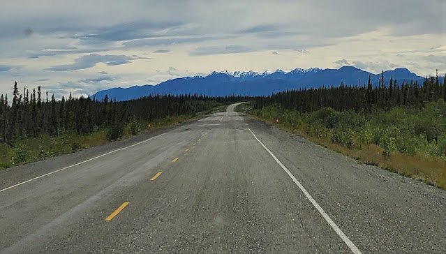 Traveling on paved but rough road in Yukon Territory