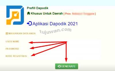 Generate (proses mengambil data prefill untuk registrasi dapodik 2021.c)