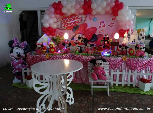 Decoração mesa de aniversário Minnie rosa para festa infantil feminina - Mesa de tema tradicional de tecido - pano