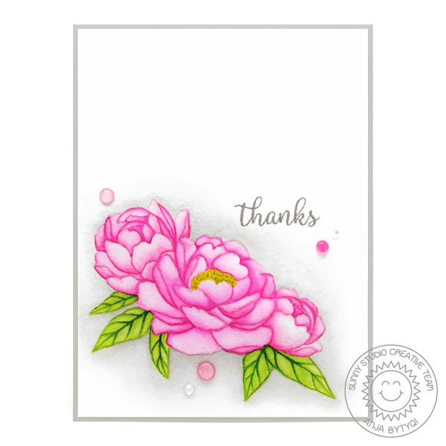 Sunny Studio Stamps: Pink Peonies Sunflower Fields Everyday Card by Anja Bytyqi