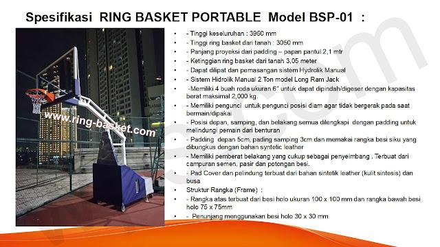 spesifikasi tiang basket portabel