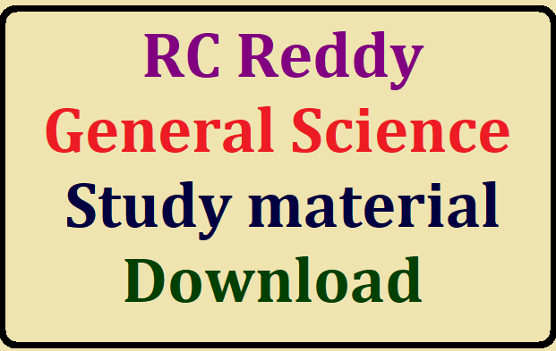 RC Reddy General Science Study material free download for all competitive exams/2019/08/rc-reddy-general-science-study-material-download.html