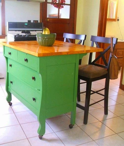 Kitchen Island Made From Old Desk: Dishfunctional Designs: Upcycled: Awesome Kitchen Islands