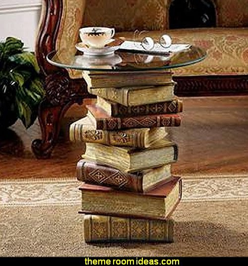 Power of Books Sculptural Glass-Topped Side Table  book themed decor - Bibliophiles decor - Book themed furnishings - home decor for book lovers - book themed bedroom -  Stacked Books decor -  Stacked Books furniture - bookworm decor -  book boxes - library furniture - formal study furniture - antique book decor -