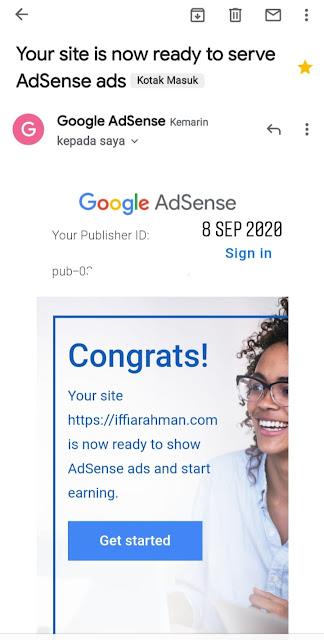 email persetujuan google adsense