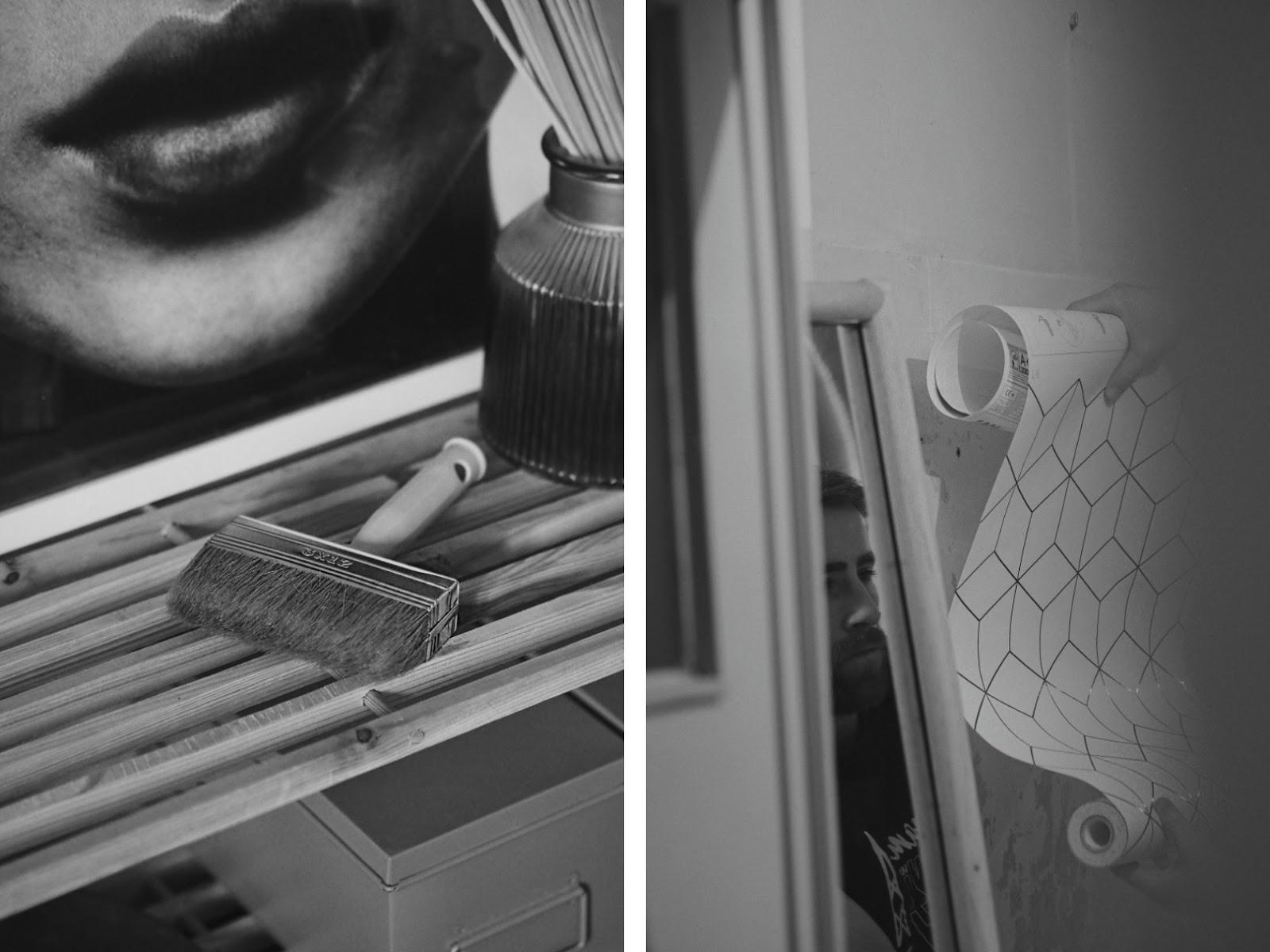 Minimalistyczne wnętrze, łazienka industrialna i malowanie kafelków