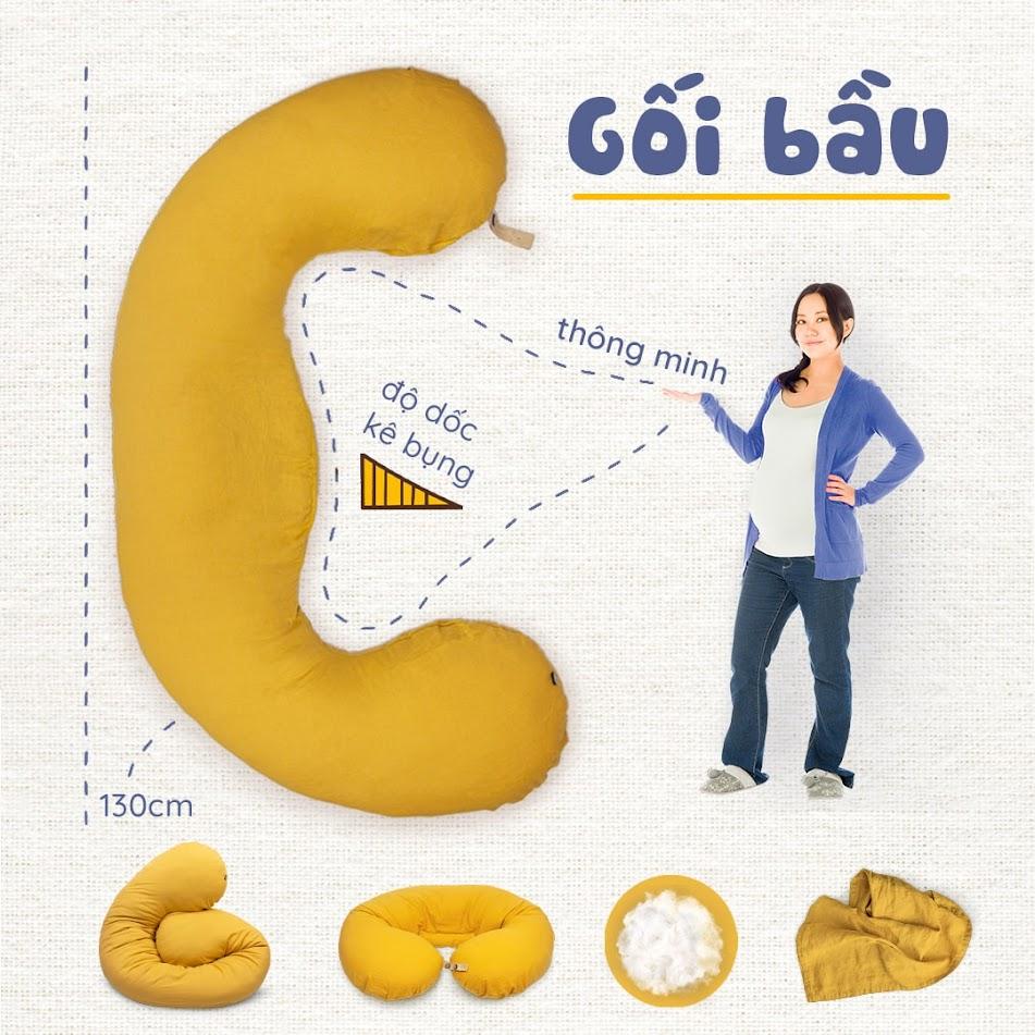 [A159] Gối ôm dành cho bà bầu tốt nhất Hà Nội - Gối bầu đậu khuyết