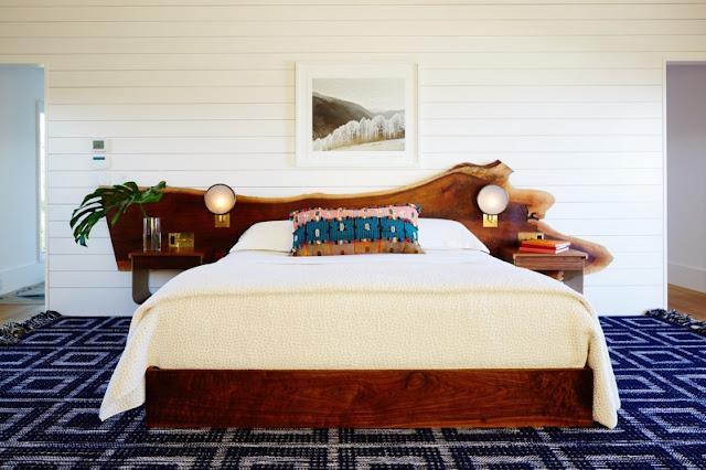 cabecero de cama realizado con tronco