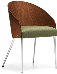 Curved Wood Back Guest Chair with Metal Legs