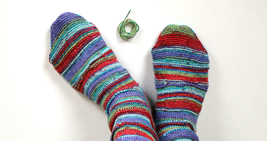 Extra Yarn and Wearing Striped Knit Socks
