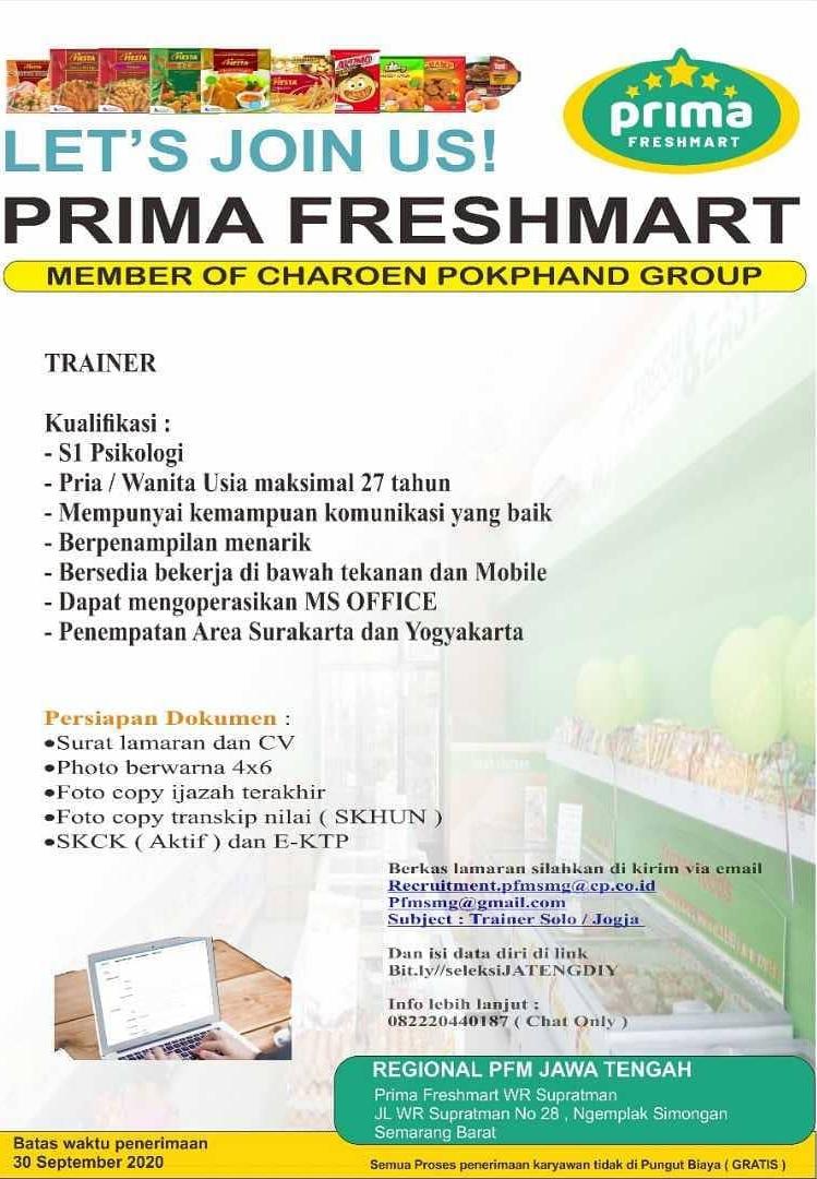 PT Primafood International ( Prima Freshmart )  Buka lowongan untuk Trainer (Area Solo-Jogja)