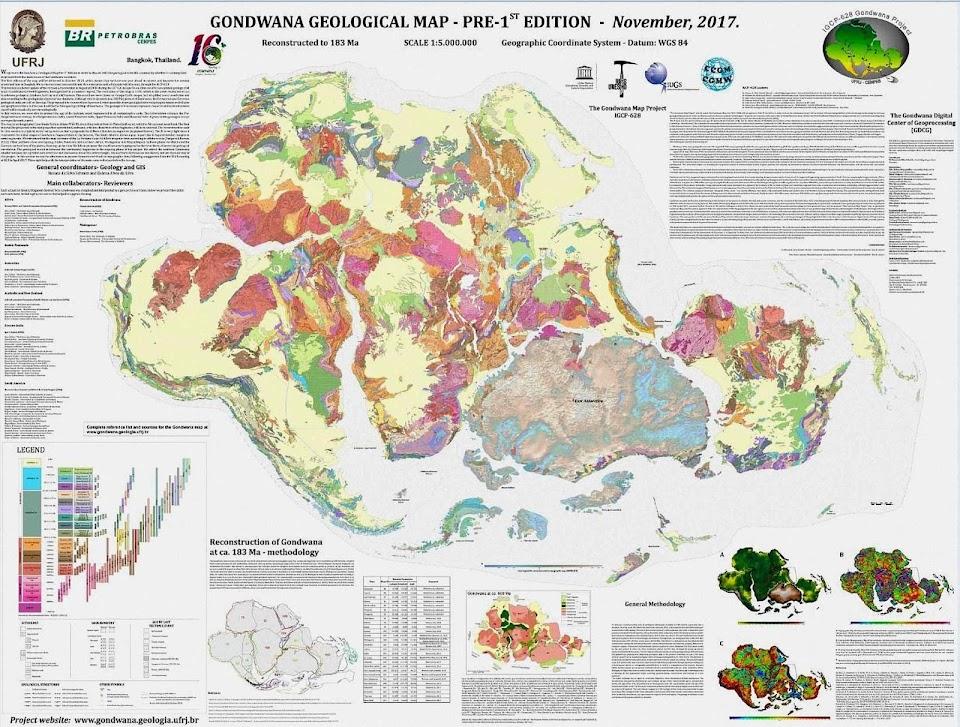 Como teria sido Gondwana, o superconjunto antes da separação dos continentes do hemisfério sul.