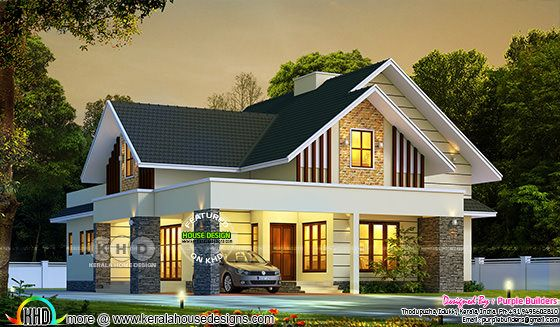 Beautiful sloping roof house rendering